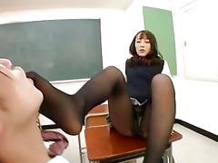 japanese school beauty gives footjob in hose