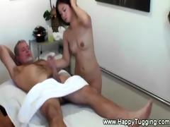 oriental masseuse is jerking off customer