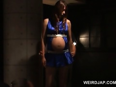 japanese hot preggo in ropes receives hardcore
