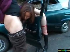 lewd oriental babe get hardcore group-sex outdoor