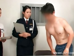 oriental police woman toying female constricted