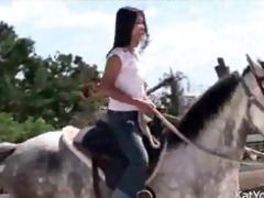 topless asian teen riding a horse oriental