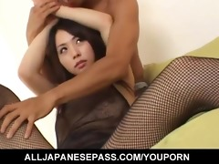 yuka osawa in fishnet body costume has her boobs