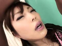 adorable kana miura on her knees being skull