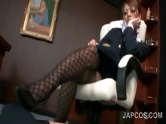 japanese office lady in fishnets giving a hot