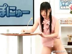 oriental cute tv presenter acquires fur pie