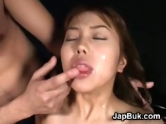 cumcovered japanese bondman cutie in fuckfest