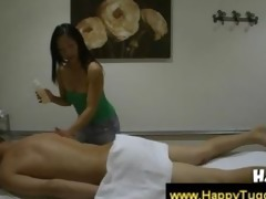 oriental beauty massages a boy up and down