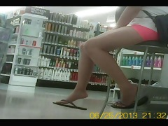 candid oriental legs and feet at the store