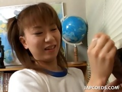 perverted jap school playgirl rubbing her