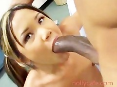 diminutive gal gagging and fucking a huge pecker