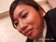 oriental flight attender twat teased in nylon