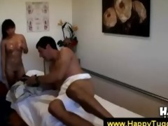 oriental masseuse uses her hands and throat