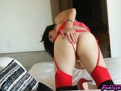 red underware for a chinese tgirl with a biggest