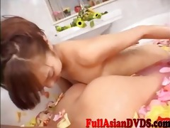 oriental lesbians giving a kiss licking and engulf