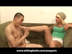 slender blond belt on pegging her doxy