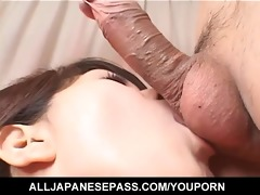 penis cheerful japanese hottie eating cum