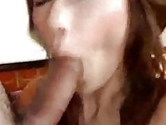 oriental girl in darksome nylons giving blowjob