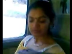 smart aged indian aunty mounds show in car