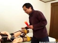 tied oriental hottie acquires her cookie licked