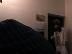 cute asian hotty in cosplay working loaded shaft