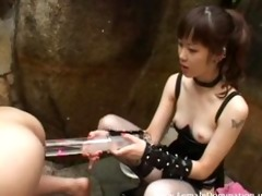 villein experiences a painful enema from goddess