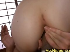 cute oriental playgirl engulfing hard and drilled