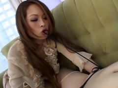 japanese lesbos use a double cock