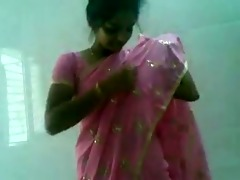cute indian desi cutie in pink saree engulfing