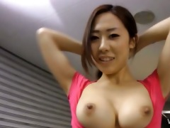 oriental sweety washes a car with her meatballs