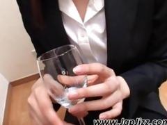 oriental secretary gives head for cock juice