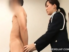 naughty oriental police woman cunt licked by