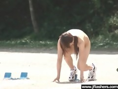 flasher sexy japanese gal receive gangbanged