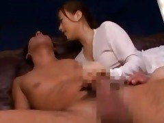 oriental cutie in white top giving cook jerking