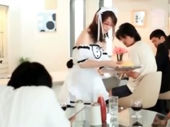 cute teenage oriental maid showing pants upskirt