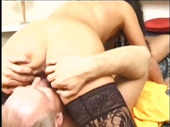 aged oriental takes threesome ramrod in her