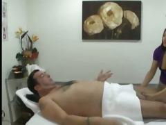 tiny oriental masseuse jerking off his dong