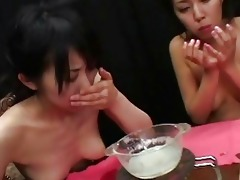 sexy oriental wenches gulp cum together