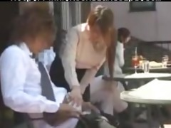 cute japanese waitress gives tugjob in crowded