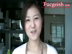 super cute oriental gal has conversation with
