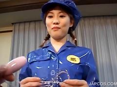 oriental in police uniform vibing her love tunnel