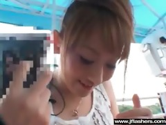 oriental sweetheart gal flashing in public and