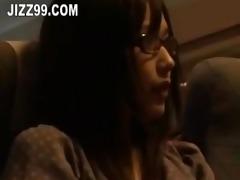 cute glasses angel drilled by geek on plane