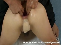 fisting the wifes booty and extreme anal pumping