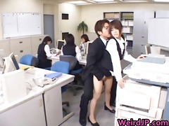cute oriental secretary drilled