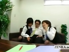 master japan office ladies play with bosses hardon