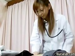 horny japanese nurse babe teases
