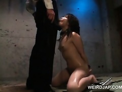 oriental diminutive bondman in chains twat fucked