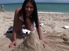 my asian beauty playing on the beach