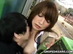 reluctant woman grope in phone booth